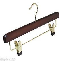 Deluxe Wooden Walnut Coat Hangers Clothes Trouser Clip Hanger x 50 BRAND NEW