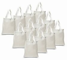 10- WHITE COTTON TOTE BAGS Durable Books School Grocery Shopping Art Swag Bags