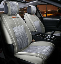 NEW Ice Silk Leather Cushion Car Seat Cover 7pcs Grey For All Car