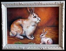"""RABBIT RABBIT"" Oil on Canvas 5""x 7"" FRAMED PAINTING Excellent Christmas Gift"