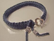 Bracelet noué Bleu marine   Fermoir coeur * Artisanal Fait maison macramé double