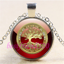 Red/Gold Celtic Tree of life Cabochon Glass Tibet Silver Pendant Necklace#L44