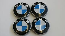 BLUE ORIGINAL BMW ALLOY WHEEL CENTRE CAPS 68mm FITS E90 E34 E46 X5
