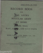 Army Book 142 [ War ] Record Book for All Arms Regular Army at Home 1938