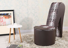 Stiletto Brown & Leopard High Heel Shoe Chair Faux Leather + Ottoman Storage