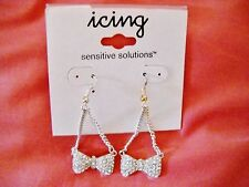 NEW ICING SENSITIVE SOLUTIONS RHINESTONE STUDDED BOWS DROP DANGLE HOOK EARRINGS