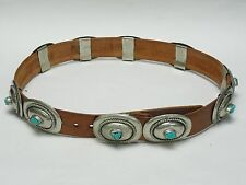 VINTAGE SOUTHWEST TOOLED ALPACA SILVER CONCHO w/ TURQUOISE NUGGET BELT & BUCKLE