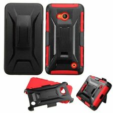 For Microsoft Lumia 640 Black Red Hard Silicone Hybrid Case Cover Holster