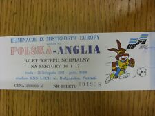 13/11/1991 Ticket: Poland v England [In Poznan] (light fold).  We are pleased to