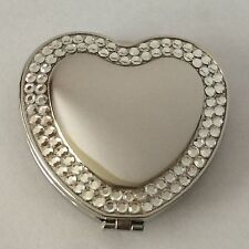 Heart Shaped Double Compact Mirror With Rhinestones, New In Box, Engraved Free
