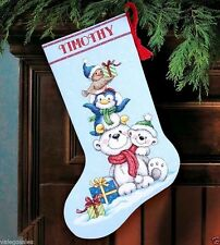 """Dimensions Counted Cross Stitch kit 16"""" Stocking ~ STACK OF CRITTERS #70-08840"""
