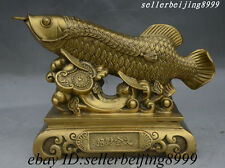 China Folk Pure Brass Fortune Coin RuYi Fengshui Fish Arowana Sculpture Statue
