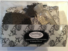 Theology Quilted Toiletry Bag 150ml Foam Bath & Sponge Gift Set