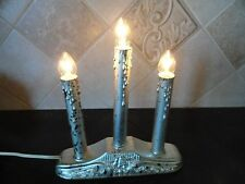 1 Silver Electric Christmas Candle Window Candelabra 3 Lights Sticks Candolier