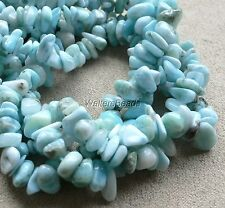 """Dominican Larimar Natural Untreated Nugget Chips Beads Aqua Blue 5-9 MM 16"""" (1)"""