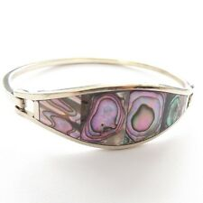 ABALONE SHELL BRACELET BANGLE ALPACA SILVER OVAL SHAPE WITH STRONG CLASP CLOSURE