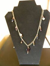 """Silver Tone Chain Necklace With Purple Bead Accents  23 1/2"""" Long"""
