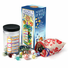 NEW CHILDREN'S MARBLE REWARD JAR WITH BAG & 50 BEAUTIFUL GLASS MARBLES HOM
