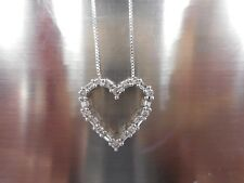 14K White Gold and Diamond Heart Pendant and 14K White Gold Chain
