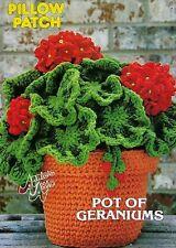 Crochet  Pillow Patch  Pot Of Geraniums  OOP Pattern  Annie's Attic