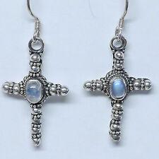 Incantevoli Orecchini Croce pietra di luna argento 925 forgiato a mano folklore Keltik