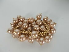 J.Crew Cluster Bauble Glass Bead Gold Link Elastic Bracelet NWT $29.50 Bronze