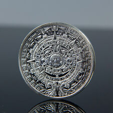 Sliver Plated Aztec Mayan Calendar Commemorative Coin Souvenir Collection MA
