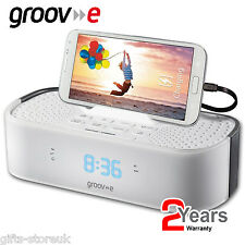 Groov-e GVSP406 Speaker Alarm Clock Radio + USB Charging Station WHITE