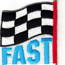 """FAST""- CHECKERED FLAG - Iron On Patch - Racing, NASCAR, Car Races, Vehicle"
