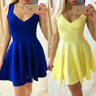 Women Ladies Sexy V Neck Tunic Bandage Party Evening Cocktail Skater Skirt Dress