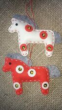 Pair of gorgeous HORSE handcrafted felt Christmas tree decorations RED & WHITE