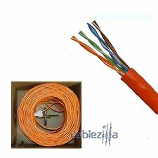 CAT5E 1000FT UTP SOLID Orange NETWORK ETHERNET CABLE WIRE LAN