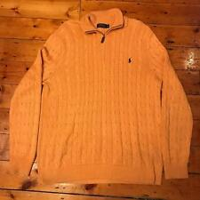 Polo Ralph Lauren 100% Silk XL Yellow Half Zip Cable Knit Jumper Sweater