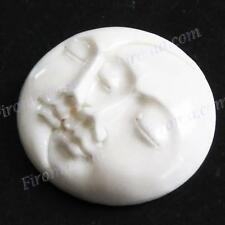 """10PCS LOT 1 5/16"""" 33MM HANDCARVED MOON AND SUN FACE BOVINE BONE CAB cabochon"""