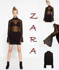 ZARA Black Sheer Top Long Bell Sleeve High Gathered Neck Stretch Cuff New Size L