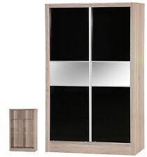 Black Gloss & Sanremo Oak | 2 Door Sliding Wardrobe Mirrored | Bedroom Unit