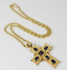 Etruscan Iolite & Rubelite Cross Pendant Necklace 2.25cts 14k Yellow Gold 13.6G