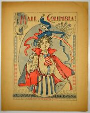 HAIL COLUMBIA 1898 ANTIQUE SHEET MUSIC ~ NATIONAL ANTHEM ~ VICE PRESIDENTS SONG