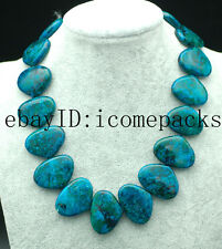 "PEACOCK AGATE  green  fan manmade  20*30mm 17"" nature wholesale necklace beads"