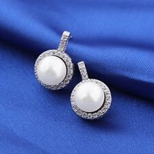 Vintage style white pearl Swarovski crystal 18k white gold filled cute earring