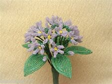 ** French Beaded Flowers ** Handmade Purple/ lavender Sweet Violet Bouquet **