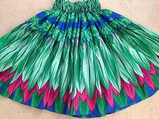 "NEW BLUE GREEN  HAWAIIAN HULA PAU PA'U   SKIRT TI  LEAF  PRINT  28"" LONG"