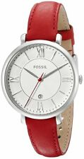 FOSSIL JACQUELINE SILVER DIAL DATE RED LEATHER STRAP LADIES WATCH ES3926 NEW