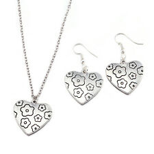 "New Jewelry Set Heart 18"" Necklace Pendant Earrings 925 Silver Plated LF"