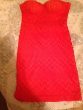 Material Girl New Cherry Tomato Strapless Lace Padded Summer Dress Juniors S