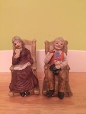 Vintage Home Interior Figurines Old Man And Woman In Rocking Chairs.