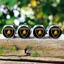 NEW (4PC) LAMBORGHINI LOGO WHEEL TIRE AIR VALVE STEM CAPS AC007