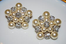 VINTAGE 1980'S BOLD LARGE COUTURE FAUX PEARLS AND RHINESTONE BALLS CLIP EARRINGS