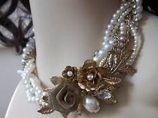 STUNNING VINTAGE NECKLACE RHINESTONES PEARLS COLLAR / /MULTI STRAND