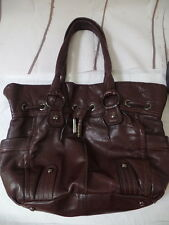 B Makowsky Satchel Hand Shoulder Bag Brown Leather Magnetic Closure Gunmetal L